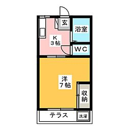 下田ハイツ[1階]の間取り