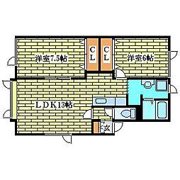ウッドランド清田[2階]の間取り