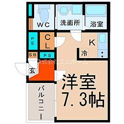 愛知県名古屋市熱田区波寄町の賃貸アパートの間取り