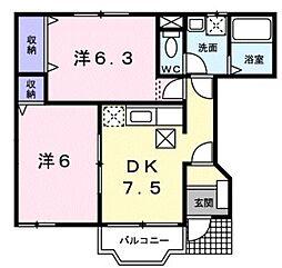 JR南武線 谷保駅 徒歩19分の賃貸アパート 1階2DKの間取り