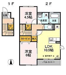 神奈川県藤沢市大鋸の賃貸アパートの間取り