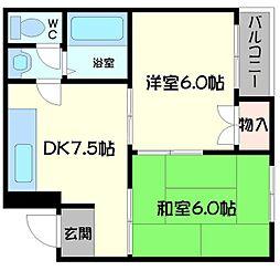 エトワルK 3階2DKの間取り