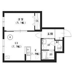 札幌市営南北線 澄川駅 徒歩2分の賃貸マンション 1階1LDKの間取り