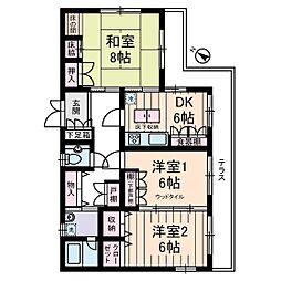 東京都世田谷区駒沢2丁目の賃貸アパートの間取り