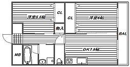 大阪府高槻市辻子2丁目の賃貸マンションの間取り