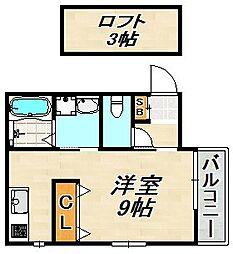 Bow Long Kamisawa 1階ワンルームの間取り