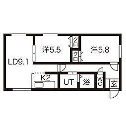 北海道札幌市西区八軒九条東4丁目の賃貸マンションの間取り