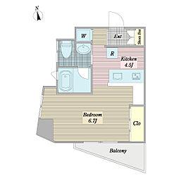 東急田園都市線 用賀駅 徒歩10分の賃貸マンション 3階ワンルームの間取り