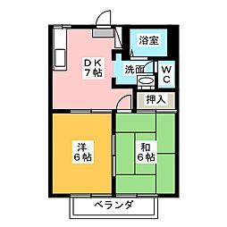 センターフィールド B棟[2階]の間取り