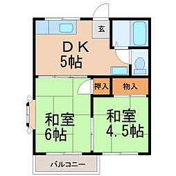 フラットオモテ[2階]の間取り