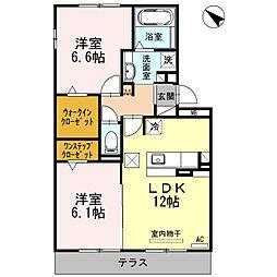 愛知県安城市新田町小山の賃貸アパートの間取り