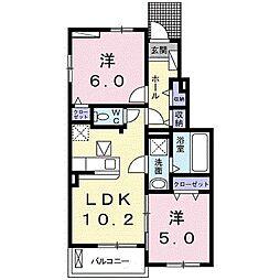 バス 高塚西下車 徒歩2分の賃貸アパート 1階2LDKの間取り