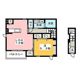 岐阜県岐阜市琴塚3の賃貸アパートの間取り