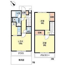 [テラスハウス] 千葉県船橋市海神4丁目 の賃貸【/】の間取り