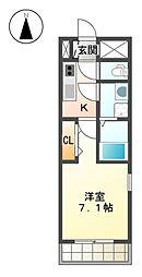 愛知県名古屋市東区大幸2丁目の賃貸アパートの間取り