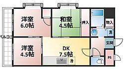 レインボー豊里[6階]の間取り