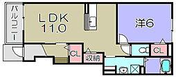 プリート カーサ 1階1LDKの間取り