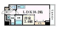 Osaka Metro谷町線 天満橋駅 徒歩2分の賃貸マンション 9階1LDKの間取り