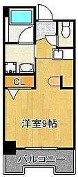 グランドメゾン小倉駅東 6階ワンルームの間取り
