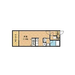 CRECIA KATSUYAMA 5階ワンルームの間取り