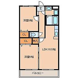 カントリーハイム村田I番館[3階]の間取り