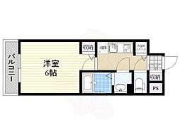 グランカリテ新大阪WEST 3階1Kの間取り