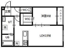 Hermitage East 1階1LDKの間取り