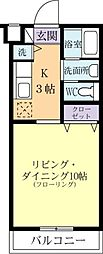 コスモ昭栄 2階1Kの間取り
