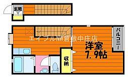 水島臨海鉄道 球場前駅 徒歩14分の賃貸アパート 2階1Kの間取り