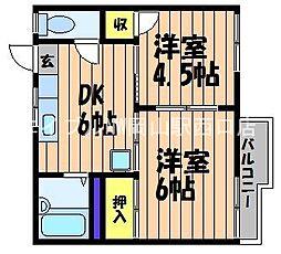 岡山県岡山市北区下伊福2丁目の賃貸アパートの間取り