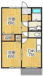 京都府京都市南区吉祥院石原町の賃貸アパートの間取り