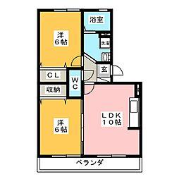 リヴェール後田 A棟[2階]の間取り