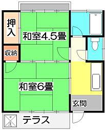埼玉県所沢市大字松郷の賃貸アパートの間取り