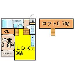 愛知県名古屋市中村区中村中町4丁目の賃貸アパートの間取り