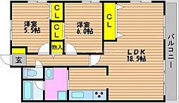 岡山県岡山市南区西市の賃貸マンションの間取り