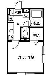 東京都大田区東雪谷1丁目の賃貸アパートの間取り