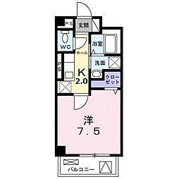 東急田園都市線 長津田駅 徒歩10分の賃貸マンション 1階1Kの間取り