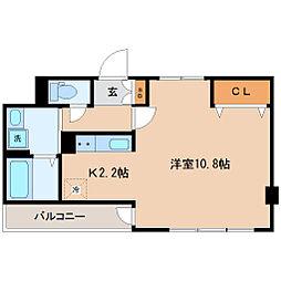仙台市営南北線 愛宕橋駅 徒歩10分の賃貸マンション 3階ワンルームの間取り