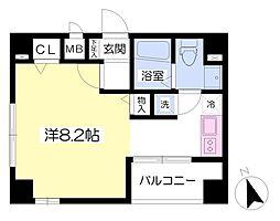 エターナル新富 8階ワンルームの間取り