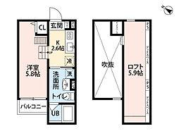 JR桜島線(ゆめ咲線) 安治川口駅 徒歩14分の賃貸アパート 1階1Kの間取り