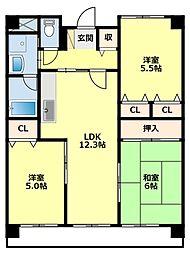 愛知県豊田市山之手8丁目の賃貸マンションの間取り