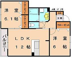 仮)三倉コーポ A[1階]の間取り