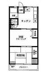 シティハイムササヤマD[202号室]の間取り