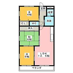 ルージュ新町[6階]の間取り
