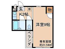 京都府京都市伏見区京町の賃貸アパートの間取り