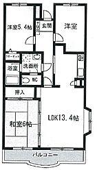 神奈川県川崎市中原区下小田中6丁目の賃貸マンションの間取り