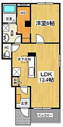 ルミナス北島D[105号室]の間取り