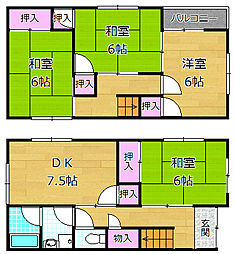 [一戸建] 大阪府枚方市茄子作4丁目 の賃貸【/】の間取り