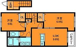 奈良県香芝市北今市6丁目の賃貸アパートの間取り