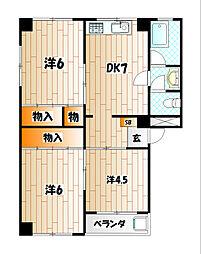 第二江上ビル[4階]の間取り